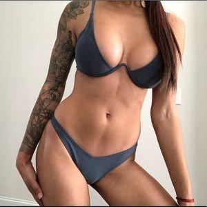 Other - Gray Deep V Underwire Bikini